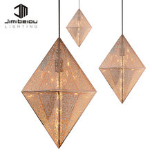 Classy And Elegant Modern decorative pendant lamp led Decoration lights Carving Diamond Shape Metal Lamp Gold Chandelier