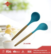 ZY-A10786 Best selling silicone kitchen utensil soup ladle with wooden handle