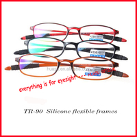 TR90 silicone flexible reading glasses with individual EVA bag
