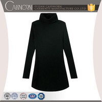 fashion plain black slim fit high neck knitted ladies long sleeve one-piece dress