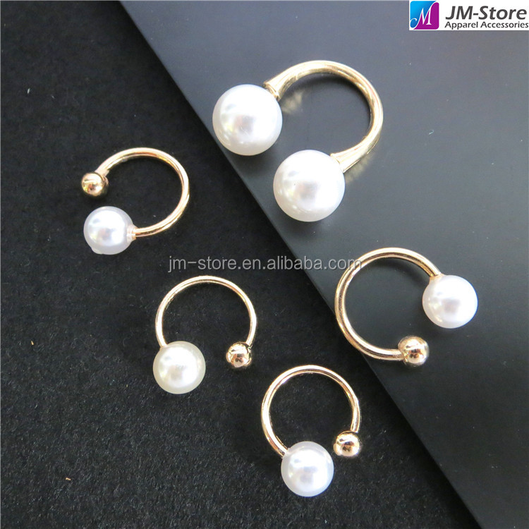 Fashion U Shape Metal Pin Buckle With Pearl For Knitwear Decoration Clothing