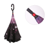 Hot sale Auto opening water proof Flower inside Hands Free C shape handle upside down Reverse Umbrella with logo prints