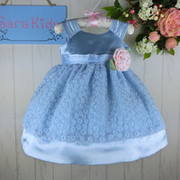 Boutiques Children Dresses Korean Flower 1 Year Evening Dress Girl Baby Frock