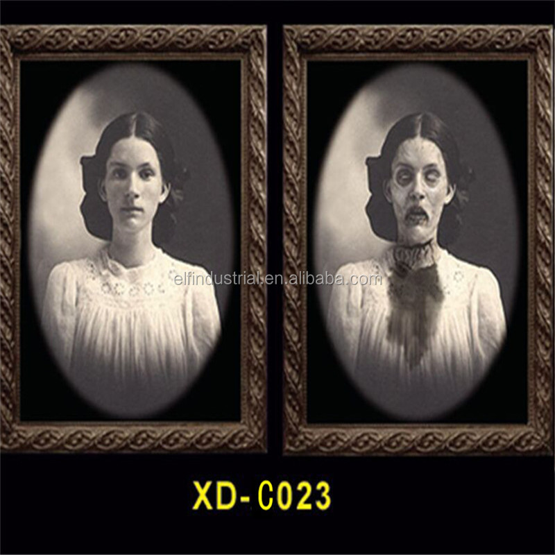 Halloween party decoration 3D horrible women's poster with lenticular printing changing effect