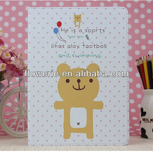 FL3260 Guangzhou 2013 new arrival lovely bear stand flip leather case cover for ipad air 5