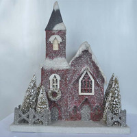 2014 Best selling Paper Christmas house with red church and artificial chrismas tree from Shenzhen China factory