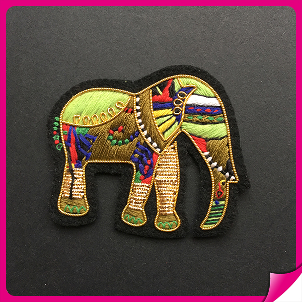 New coming jacket custom elephant embroidery patch