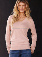 WFS basic design girl's sweaters cable knitted v-neck silk cashmere sweater women's