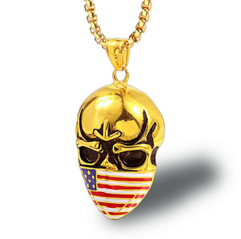 skull face mask pendant necklace wholesale country flag mask jewelry