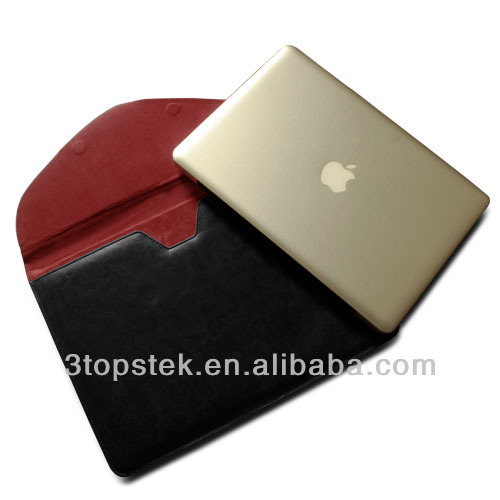 Black /Brown PU leather Crazy Horse & Red inside Envelope sleeve case skin cover for Macbook Pro 15 Laptop bags