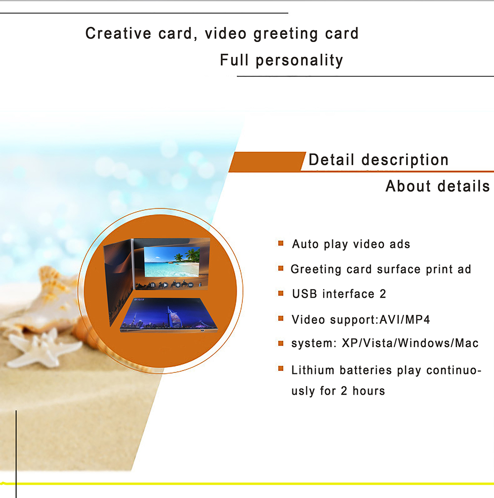 "2.4"" 4.3"" 5"" 7"" 10"" LCD video card , video greeting cards A4 book size"