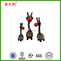 Personal decoration Set of 3 Hand Carved Black and Red Giraffe Statues