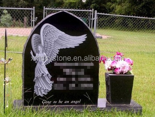 black granite headstone with angel etching