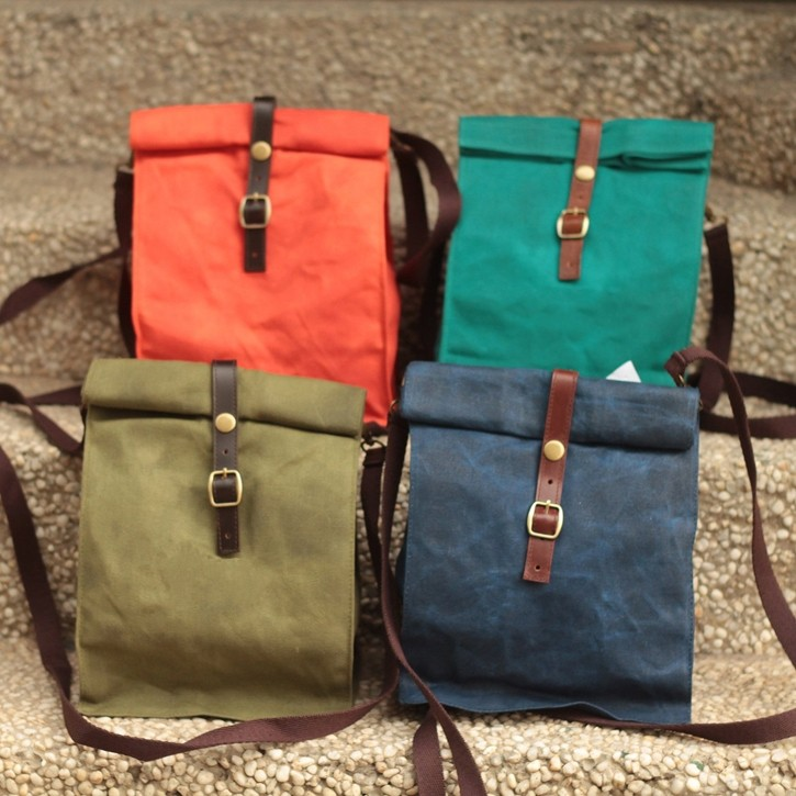 New Shoulder Strap Insulated Waxed Canvas Lunch Bag Cooler For Office