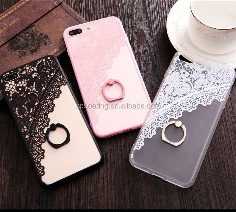 Lace Ring stand case skin cover for iPhone 7, Flower stand case for iPhone 7 Plus