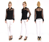 Factory Price Cheap Embellished Blouse, Black Mesh Blouse , Sexy See-through Blouse For Ladies