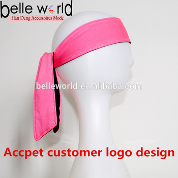 Wholesale fashion custom girls tie headbands for sports