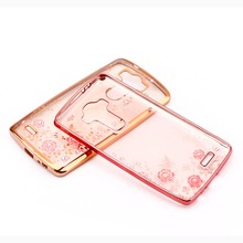 Crystal Flowers Electroplating TPU Soft silicone Back Cover For LG G3 G4 G5 Case