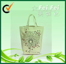 China FeiFei beautiful disposable recyclable shopping cotton bag with long tote