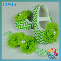 wholesale Green chevron babay crib shoes crib shoes with bows shabby flower set infant baby flower shoes