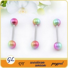 2015 New design Latest trendy two balls unique tongue industrial barbell piercing jewelry