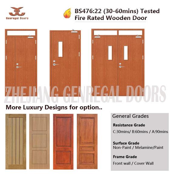 BS476 standard 0.5hr / 1hr /1.5hr wood fire door, View 0.5hr fire ...