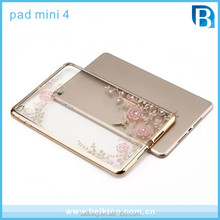 Flower Diamond TPU Case For Ipad Mini 4 Electroplated Soft Clear TPU Case