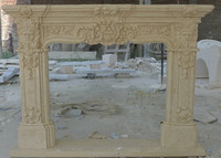 Cheap European Hand Carved Beige Marble Fireplace surround