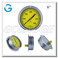 High quality all stainless steel no stop pin back mounting 6000 psi manometer