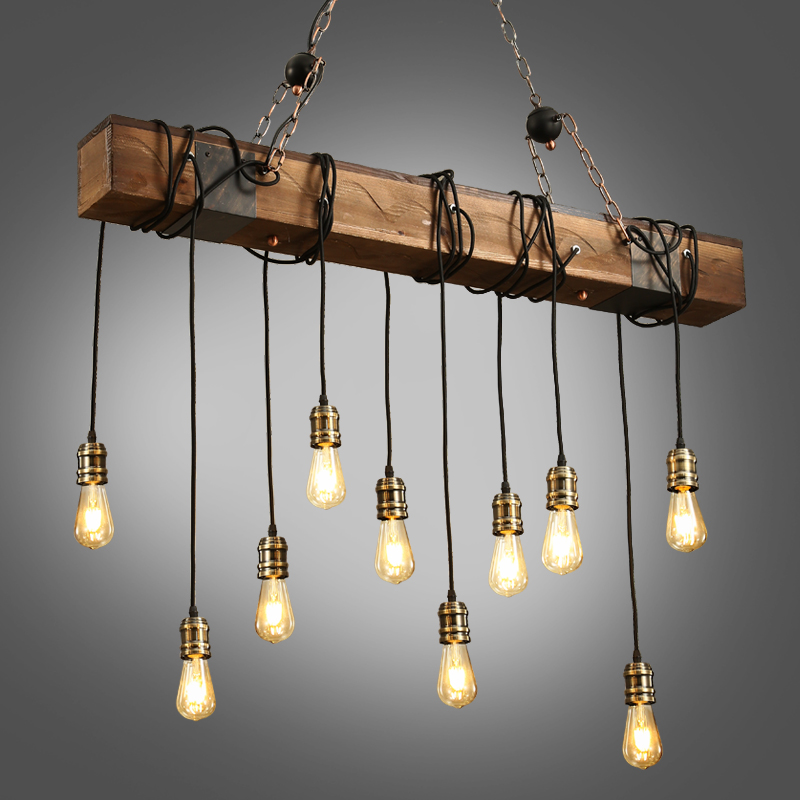 China factory industrial lighting chandelier modern lights rustic wooden pendant lamp