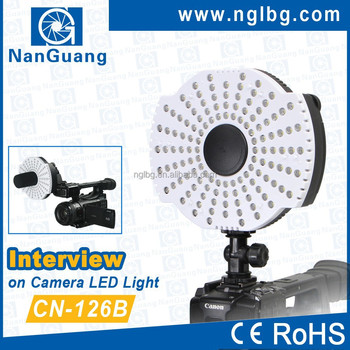 Nanguang 7.6W CN-126B Ring on camera LED Light for interview Ra 95