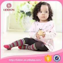 Colorful stripe baby cotton pantyhose for girls custom