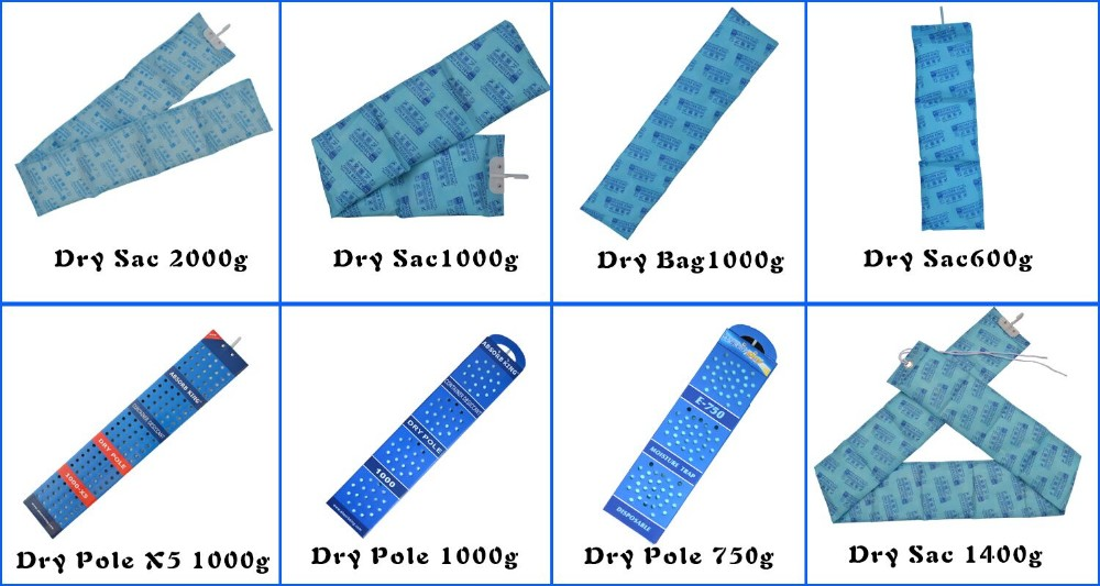 MSDS,DMF free eco-freindly desiccant, desiccant bags for shipping containers dry pole