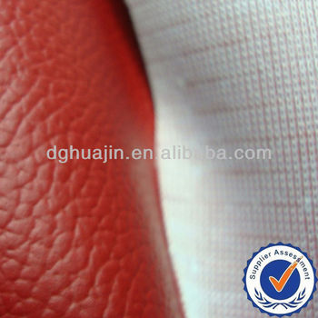 Knitted backing red embossed pvc sofa leather