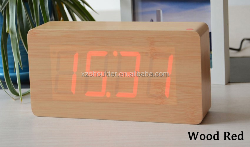 Best Modern Wood Clock Dual led display Bamboo Clock digital alarm clock orologio digitale Show Temperature Time with Voice Cont
