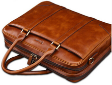 top quality cow leather briefcase for men,brown genuine leather briefcase