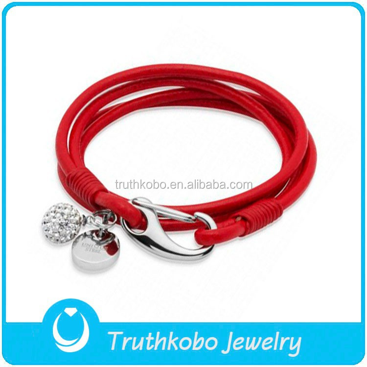 Shiny Crystal Accessory Red Leather Bracelet Charm Bracelets for Women 2016 Hot Selling Handmade Genuine Leather Bracelet