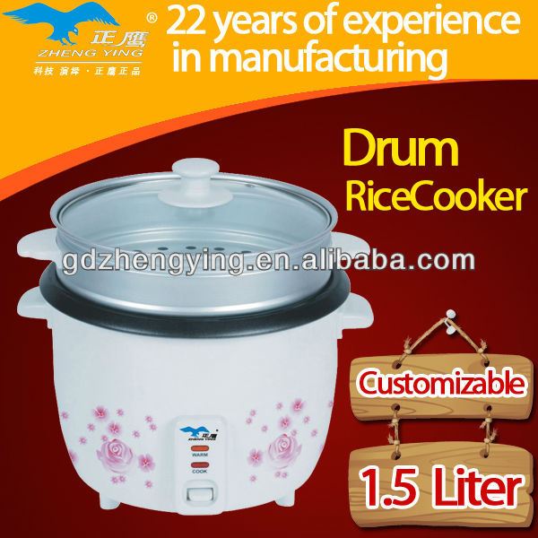 drum national rice cooker with non-stick pot and grass lid