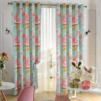 Blackout home yarn dyed polyester cartoon birds pattern window curtain