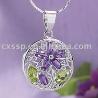 Purple Ball Pendant Crystal Necklace