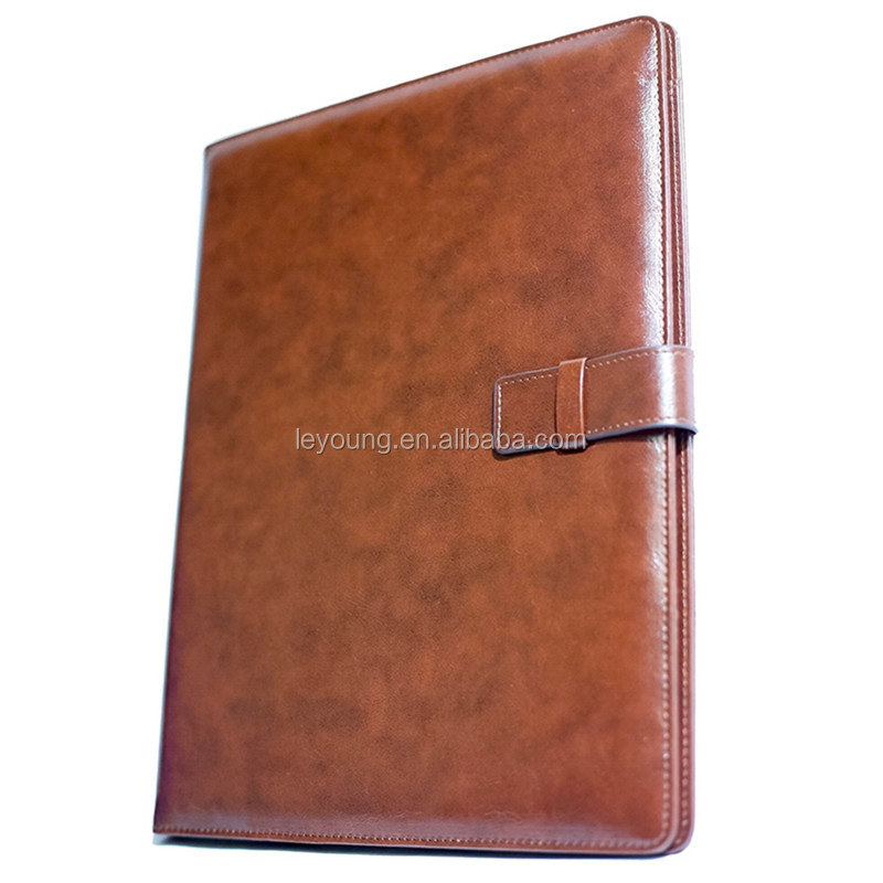 Real Leather Portfolio Expanding File Folder