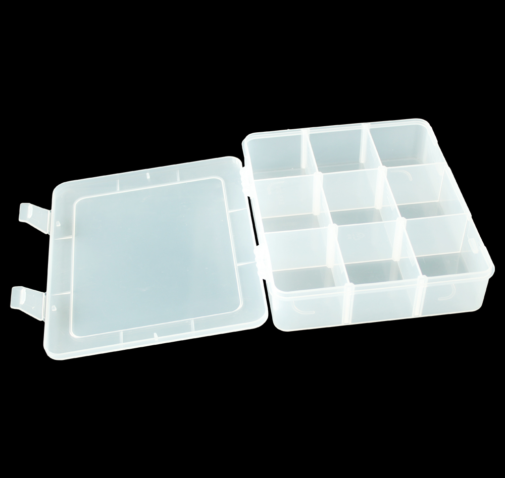 9 compartments plastic containers storage fishing tackle box