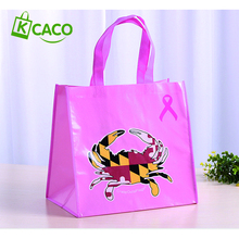 Promotional reusable folding non woven tote bag with pocket