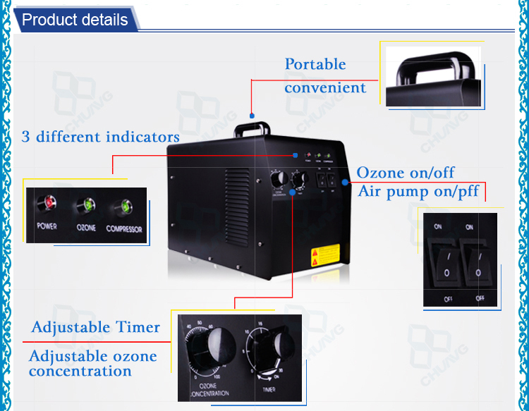 Oxygen feed small 3g 5g 6g 7g cold corona discharge ozone generator