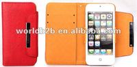Cute wallet Leather Case for Apple iPhone 5 with Card Slots & Clasper
