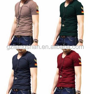 OEM Wholesale Summer Men's V-Neck Military Uniform Agitation Personality Short Sleeve Shirt