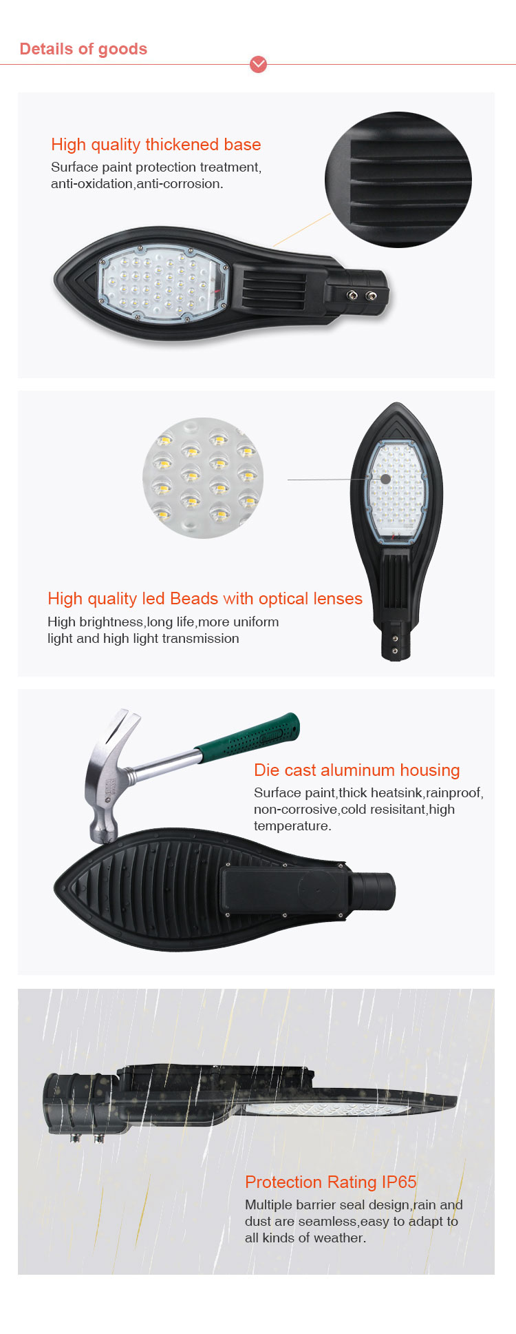 outdoor led street lamp 30w 50w 100w 150w road street light led 100 watt