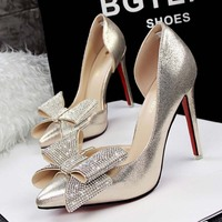 SAA4755 Lady fashion shoes korean sexy side hollow out elegant pointed toe ladies stiletto high heels with rhinestone bow