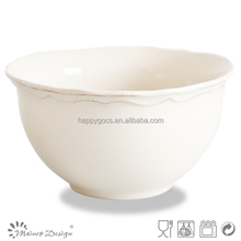 Japan style ebossed footed beautiful solid colour ceramic bowl new design