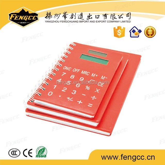 customized logo available Office Supply colorful PU calculator with notebook